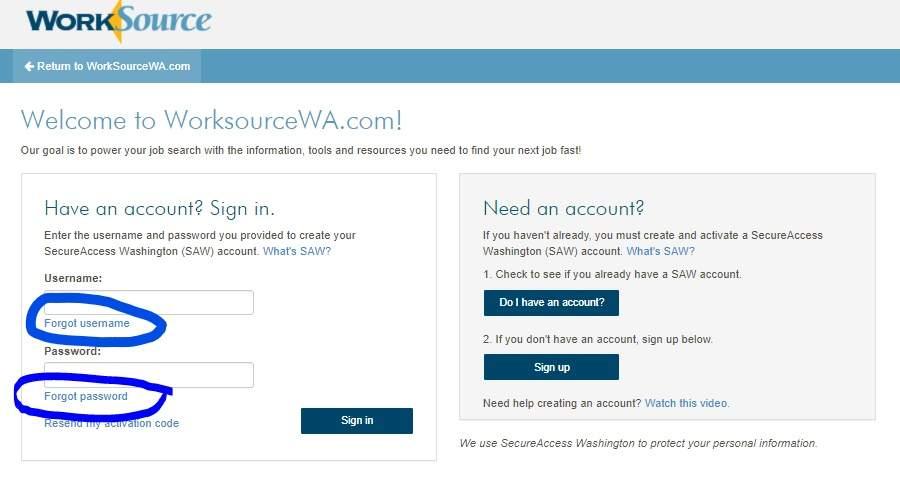 SAW Account screenshot how to