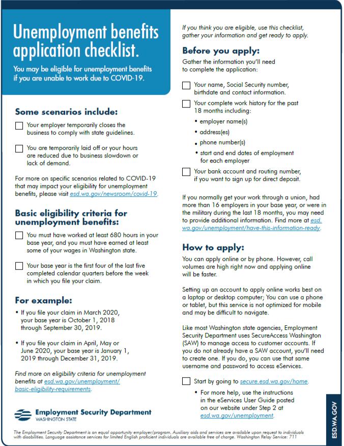 Unemployment benefits application checklist preview