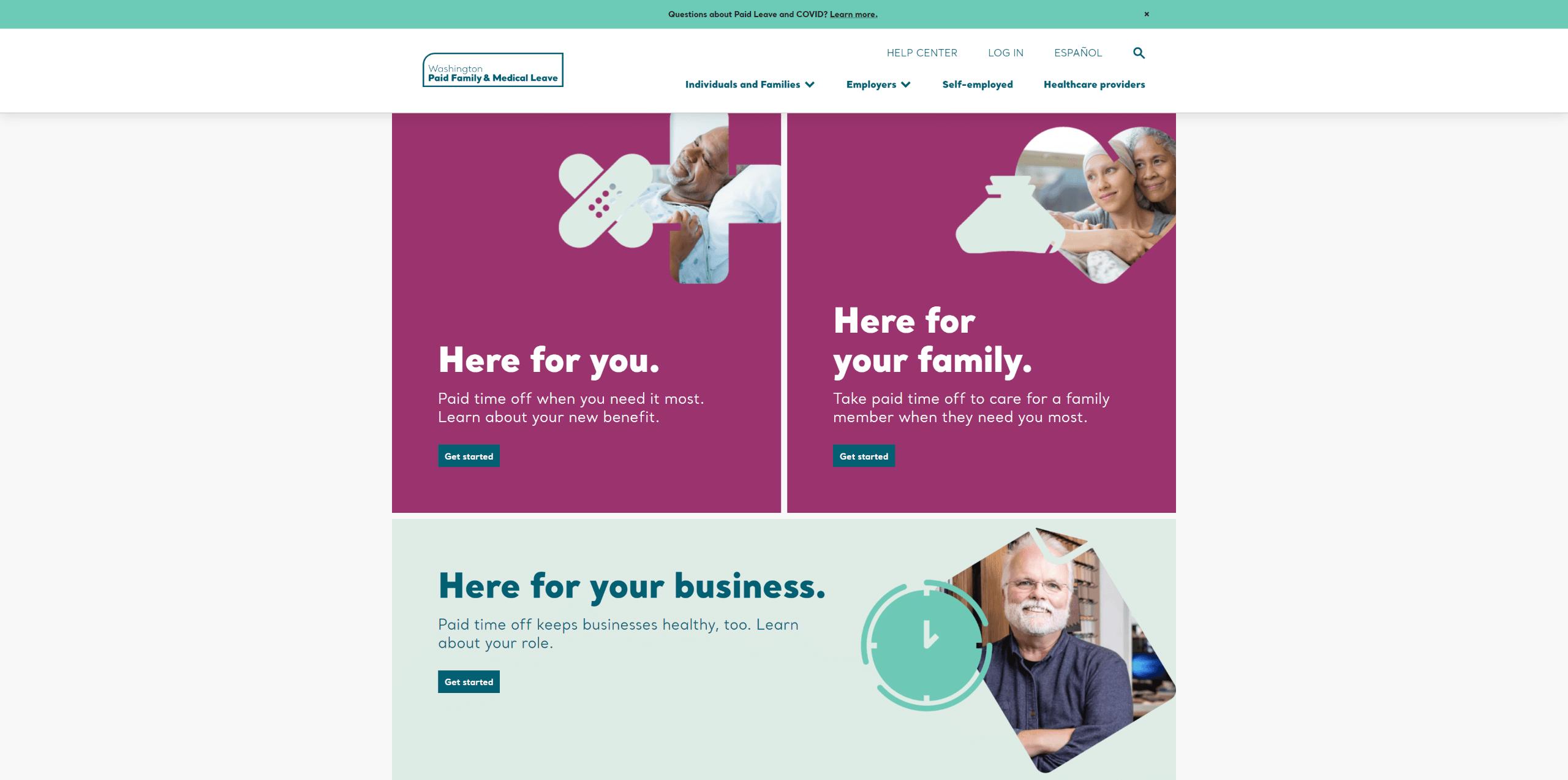 Paid leave Washington homepage