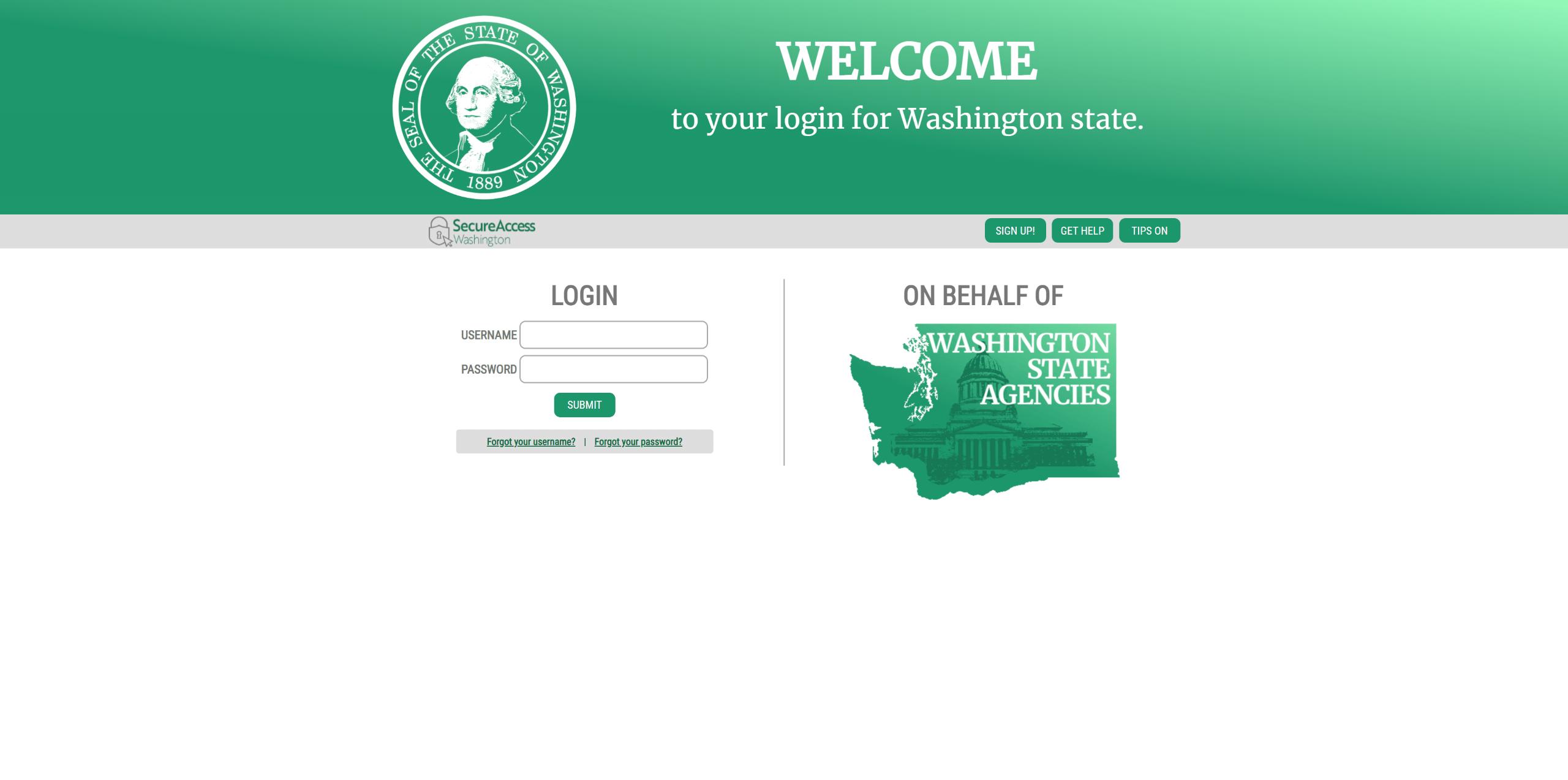 Secure Access Washington homepage