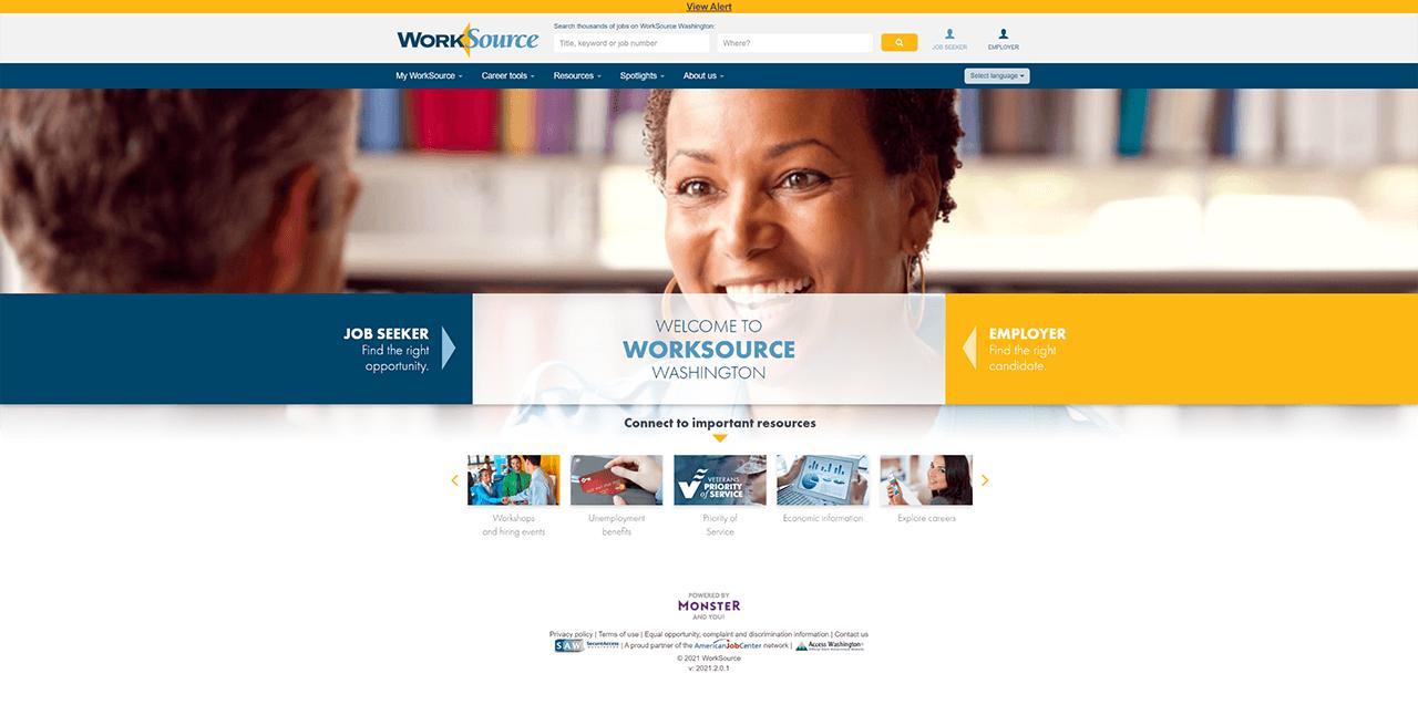 Worksource WA homepage